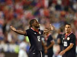 Costa Ricas Joel Campbell sucks a pacifier in celebration after scoring a goal against the US, during their intl friendly, at the Red Bull Arena in Harrison, New Jersey, on October 13, 2015