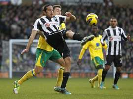 Newcastle Uniteds Argentinian midfielder Jonas Gutierrez (L) pictured during an English Premier League match against Norwich City at Carrow Road in Norwich, England, on January 12, 2013