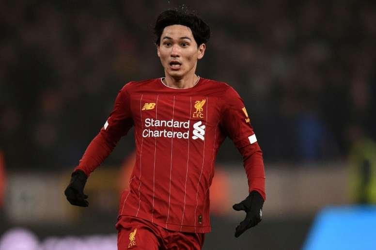 Takumi Minamino ha jugado siete partidos con el Liverpool. AFP