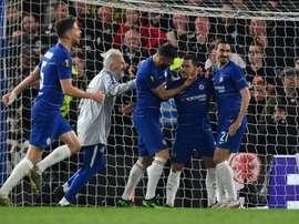 Eden Hazard after scoring the winning penalty. AFP