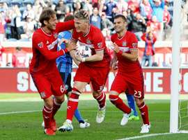 Bastian Schweinsteiger (C) of Chicago Fire celebrates after scoring a goal
