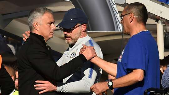 Mourinho and Sarri pictured after the melee. AFP