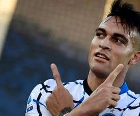 Lautaro Martinez scored in Inter's 1-2 victory at Verona. AFP