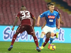 Polish striker Arkadiusz Milik missed chances as Napoli were held. AFP