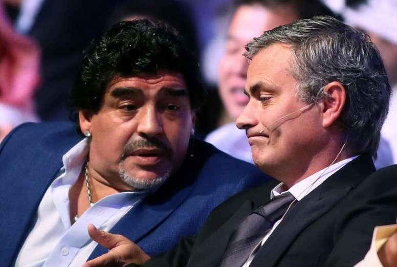 Jose Mourinho has paid tribute to the late Diego Maradona. AFP