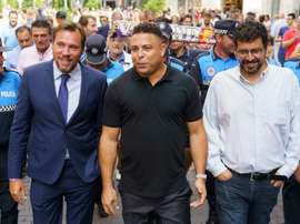 Ronaldo takes a tour of Valladolid with city mayor Oscar Puente (L) in September. AFP