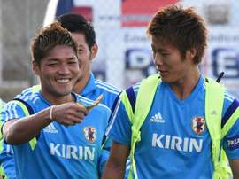 Kawasaki Frontale forward Yoshito Okubo (left) has tied the J-League scoring record