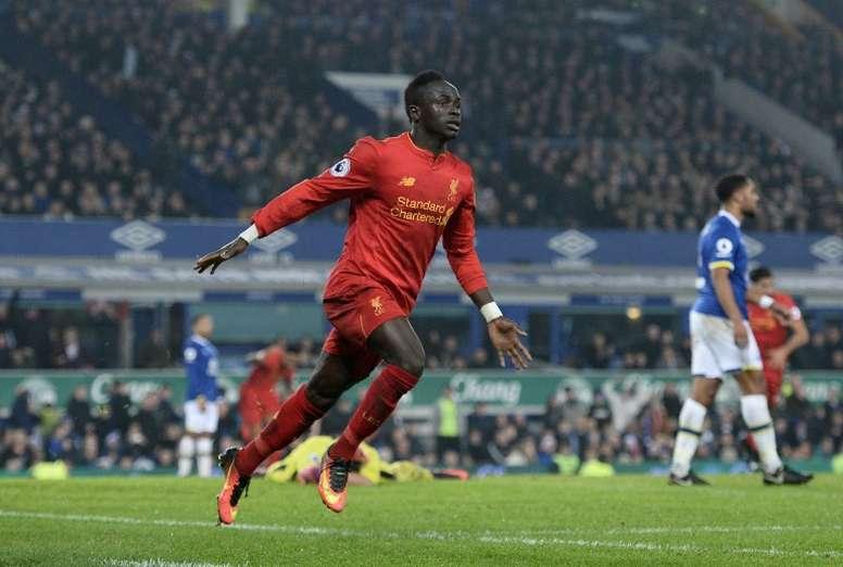 Liverpool's Senegalese midfielder Sadio Mane celebrating a goal. AFP