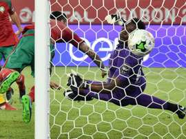 Togo goalkeeper Kossi Agassa concedes a goal during the CAF match against Morocco. AFP