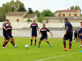 One of the smallest clubs ever to play in Frances top flight could be in for a rude awakening when Corsican minnows Gazelec Ajaccio, pictured during a training session, face Paris Saint-Germain at the Parc des Princes