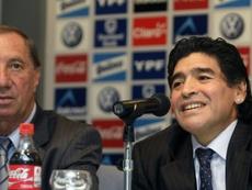 Carlos Bilardo (left) with Diego Maradona in 2008. AFP