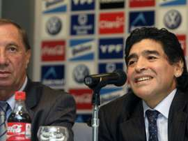 Carlos Bilardo (left) with Diego Maradona in 2008. AFP