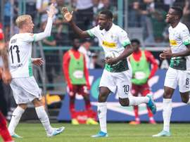 Thuram (C) was the hero for Gladbach against Dusseldorf. AFP