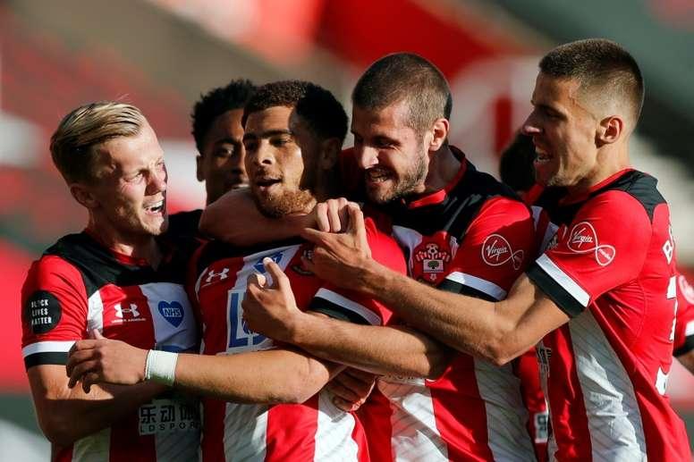 Che Adams (C) gave Southampton a 1-0 win v Man City. AFP