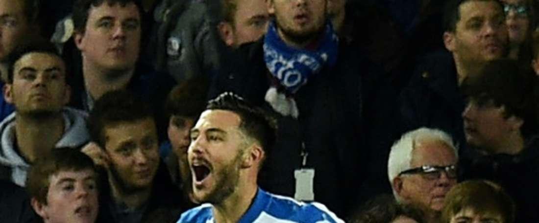 Adrian celebrates scoring Apollon's first goal. AFP