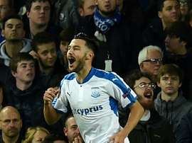 Adrian celebrates scoring Apollon's first goal. AFP