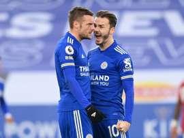 Jamie Vardy's (L) deflected effort saw Leicester get a share of the spoils v Man Utd. AFP