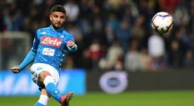 Insigne fue uno de los tres jugadores que no completó el entrenamiento del Nápoles. AFP