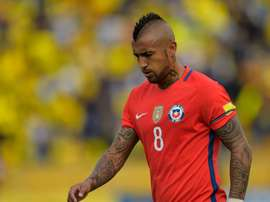 Chiles Arturo Vidal reacts at the Russia 2018 World Cup football qualifier match against Ecuador in Quito, on October 6, 2016