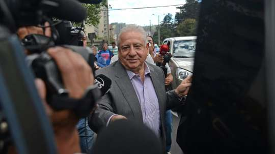 Luis Chiriboga current Ecuadoran football federation president and member of the CONMEBOL executive committee arrives at the court in Quito on December 4, 2015