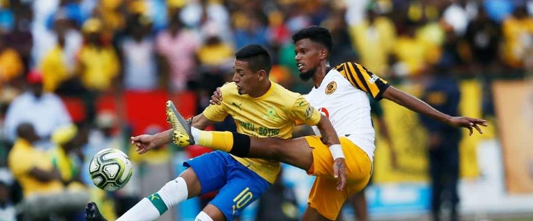Sirino (L) scored and got sent off for Mamelodi Sundowns. AFP