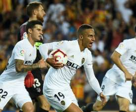Rodrigo equalised for Valencia with an emphatic finish. AFP