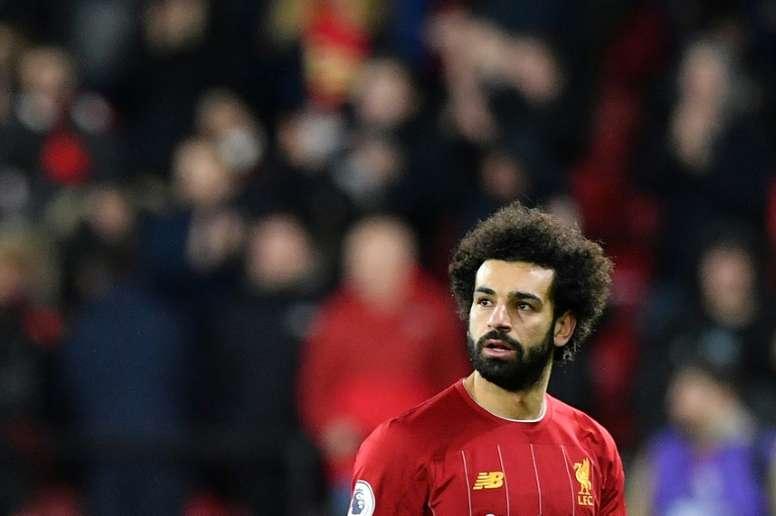 A reação de Salah após a derrota do fim de semana contra o Watford. AFP