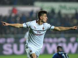 The prolific forward has now scored six goals in four starts for AC Milan. AFP