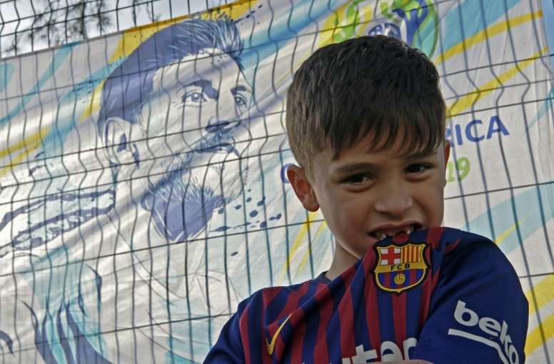 A Brazilian child shares his name with the Barcelona legend. AFP