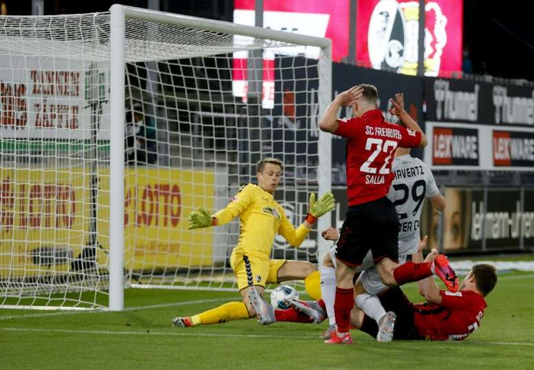 Kai Havertz made Bundesliga history with his goal away to Freiburg. AFP