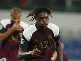Moise Kean celebrates after scoring his and PSGs second goal against Istanbul Basaksehir. AFP