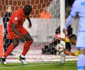 Lukaku scored two goals as he reached the milestone of 50 goals for Belgium. AFP