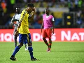 Aubameyang no tuvo su mejor día y Gabón pinchó. AFP