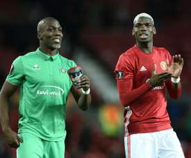 Pogba and Pogba during Saint Etienne vs United. AFP
