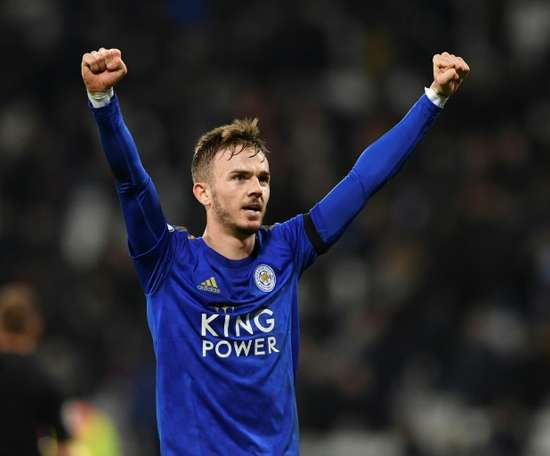Maddison is happy at Leicester. AFP