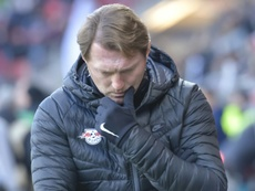 Leipzigs Austrian head coach Ralph Hasenhuettl reacts during their match against Ingolstadt 04 on December 10, 2016