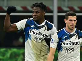 Duvan Zapata scored for Atalanta in a 3-0 win over AC Milan in the San Siro. AFP