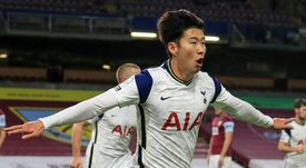 Son Heung-min celebrates his goal against Burnley. AFP