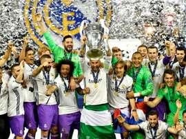 Les joueurs du Real Madrid célèbrent la Ligue des champions à Cardiff. AFP