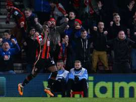 Bournemouths striker Benik Afobe celebrates scoring their second goal during the English Premier League football match between Bournemouth and Southampton in Bournemouth, England on March 1, 2016