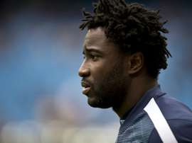 Injured Ivorian forward Wilfried Bony, pictured in Manchester, England, on May 10, 2015, struggled in heavy, wet Port Harcourt conditions against Ghana in their 2017 Africa Cup of Nations qualifier