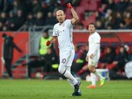 Bayern Munich's Arjen Robben celebrates his goal on Saturday. AFP