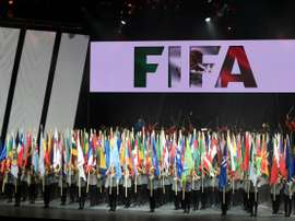 View of the opening ceremony of the 66th FIFA Congress being held from May 12 to 13 at the Auditorio Nacional in Mexico City on May 12, 2016