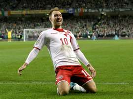 Eriksen scored a hat-trick in the 4-1 win over Ireland that took Denmark to the World Cup. AFP