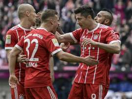 Lewandowski plundered a hat-trick against Hamburg. AFP