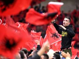 Albanian fans booed the French anthem after France's error in the game in Paris. AFP