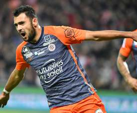 Laborde fired Montpellier to second in Ligue 1. AFP
