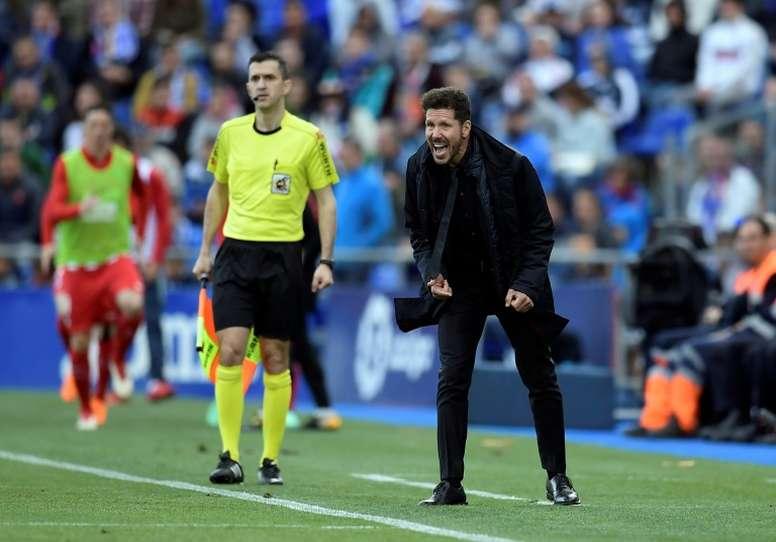 Simeone en tribunes. AFP