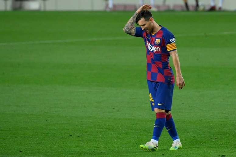 Lionel Messi was far from happy after Barcelona's defeat to Osasuna. AFP
