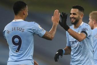 Riyad Mahrez (right) scored a hat-trick. AFP